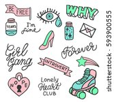 set of stickers  pins  patches... | Shutterstock .eps vector #593900555