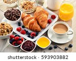 breakfast served with coffee ... | Shutterstock . vector #593903882