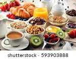 breakfast served with coffee ... | Shutterstock . vector #593903888