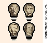 four idea light bulbs that are... | Shutterstock .eps vector #593903996