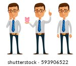 funny cartoon businessman... | Shutterstock .eps vector #593906522