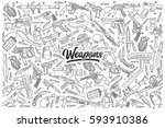 hand drawn weapons doodle set... | Shutterstock .eps vector #593910386