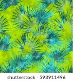 palm pattern seamless tropical... | Shutterstock .eps vector #593911496