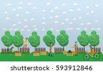 harvesting and realization... | Shutterstock .eps vector #593912846