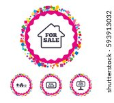 web buttons with confetti...   Shutterstock .eps vector #593913032