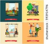 vector set of modern gadgets... | Shutterstock .eps vector #593914796