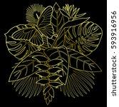 golden tropical bouquet with... | Shutterstock .eps vector #593916956