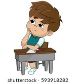 kid thinking.vector and... | Shutterstock .eps vector #593918282