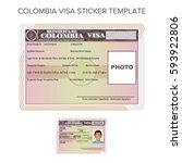 vector colombia passport visa... | Shutterstock .eps vector #593922806