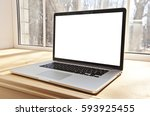 one modern laptop on hte window ... | Shutterstock . vector #593925455