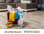 cleaning service. bucket with... | Shutterstock . vector #593931065