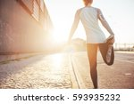 athlete woman preparing for... | Shutterstock . vector #593935232