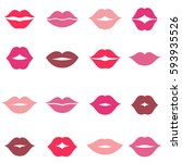 set of pink and red women lips... | Shutterstock . vector #593935526
