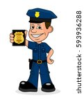 Cheerful Police Officer Vector...