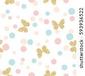gold glittering butterflies... | Shutterstock .eps vector #593936522