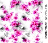 seamless pattern with pink and... | Shutterstock .eps vector #593943446