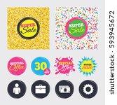 gold glitter and confetti...   Shutterstock .eps vector #593945672