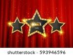 winner. retro light sign. three ... | Shutterstock .eps vector #593946596