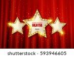 retro light sign. three gold... | Shutterstock .eps vector #593946605