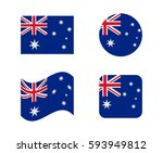 set 4 flags of australia | Shutterstock .eps vector #593949812