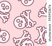 seamless cute skull and crossed ... | Shutterstock .eps vector #593953676