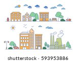 vector city and town... | Shutterstock .eps vector #593953886