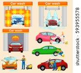 car wash services  auto... | Shutterstock . vector #593955578