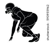 football player silhouette.... | Shutterstock .eps vector #593955962