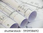 floor plan designed building on ... | Shutterstock . vector #593958692