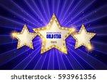 retro light sign. three gold... | Shutterstock .eps vector #593961356