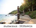 wood bridge on the beautiful...   Shutterstock . vector #593964416