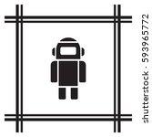 robot icon. flat design. | Shutterstock .eps vector #593965772