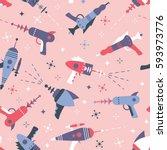 vector seamless blaster pattern | Shutterstock .eps vector #593973776