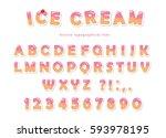 ice cream font. cute wafer... | Shutterstock .eps vector #593978195