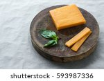 block cheddar cheese  slices... | Shutterstock . vector #593987336