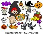 halloween cartoon elements | Shutterstock .eps vector #59398798