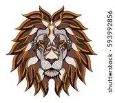 lion head zentangle  doodle... | Shutterstock .eps vector #593992856