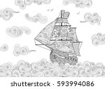 contour image of sailing ship... | Shutterstock .eps vector #593994086