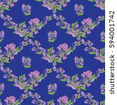 seamless pattern with flowers... | Shutterstock .eps vector #594001742