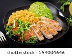 healthy dish with chicken ... | Shutterstock . vector #594004646