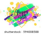 happy holi on a background of... | Shutterstock .eps vector #594008588