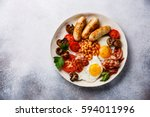 english breakfast with fried... | Shutterstock . vector #594011996