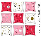 set of decorative cushions with ... | Shutterstock .eps vector #594021632