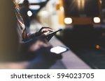 enjoying travel. woman waiting... | Shutterstock . vector #594023705