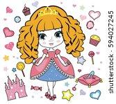 vector illustration of little... | Shutterstock .eps vector #594027245