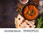 spicy chicken tikka masala in...   Shutterstock . vector #594029522