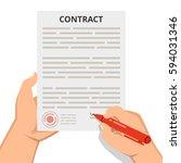 businessman hand holding pen... | Shutterstock .eps vector #594031346