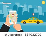 booking taxi via mobile app....   Shutterstock .eps vector #594032702