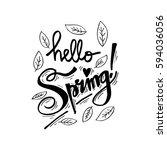 hello spring. hand lettering ...   Shutterstock .eps vector #594036056