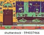 restaurant with robots | Shutterstock . vector #594037466